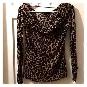 Long sleeve animal print collared shirt